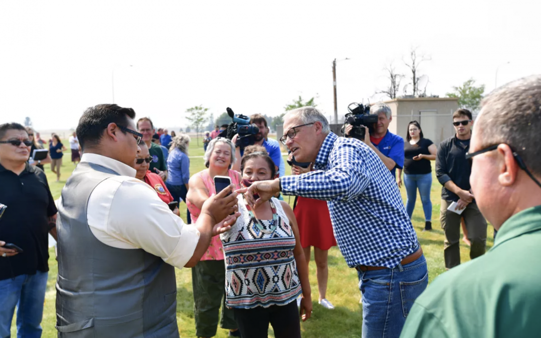 'Hit by climate change right, left and center': Inslee calls for revamped FEMA aid system during visit to fire-ravaged Nespelem